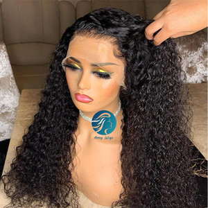 Bleached Knots Curly Human Hair Wigs 150 Density Wonen Lace Wig Pre Plucked Glueless Full Lace Wigs Remy Peruvian For African Americans