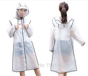 Moda ropa impermeable impermeable mate translúcido EVA larga de las mujeres capa de lluvia poncho de los hombres del recorrido impermeable portátil Ciclismo poncho de Luz