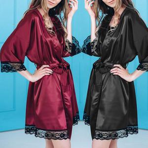 Sexy Sommer Nachthemd Sleepshirts Womens Robe Mini Kimono Badekleid Faux Silk Nachtwäsche Casual Silky Nightwear Female Dress 2019