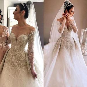 Arabo Sheer Long Sleeves Tulle A Line Abiti da sposa 2019 Perle di perle increspato Corte dei treni Abiti da sposa BC1543