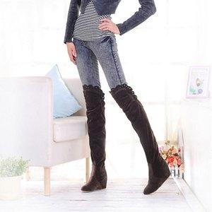 BORRUICE Suede Frauen Schuhe Oberschenkel hohe Stiefel Warm erhöht die Elastizität Halt Im Winterstiefel Frauen-Spitze über das Knie