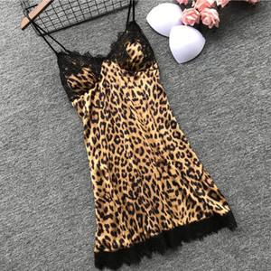 Женщины Сексуальные Ночные Рубашки Леопардовые Летние Пижамы Платье Спагетти Ремень Атласные Кружева Ночная Одежда Дамы Главная Мини SleepSkirt Спинки