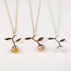 День 3D розы ожерелье год сбора винограда богемский цветок ожерелье шарма себе ювелирные изделия Женщины Девушки Party Valentine подарков