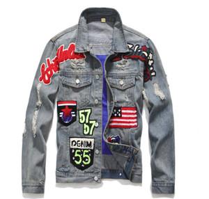 Hombres Slim Vintage American Flag Jeans Chaqueta Punk Motocicleta Denim Coat Turn Down Collar Badge Patch Design Prendas de abrigo