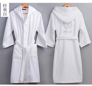 dos homens de alta qualidade de Inverno de Banho Masculino Longo Grosso Terry Quente toalha de algodão roupão Casal encapuçado Home Bath Robes