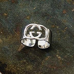 Reale 925 Designer Sterling Silver G suonano vuoti anello lettere semplici gioielli di moda di Hip Hop punk dell'anello partito accessorio regalo Charm