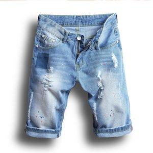 Light Blue Mens Estate Shorts Denim Patch Mens elastico dei jeans di moda High Street casuali di lunghezza del ginocchio dei jeans di trasporto