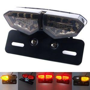 Triclicks 연기 오토바이 안개 라이트 테일 브레이크 라이트 중지 단일 후면 조명 듀얼 컬러 LED 표시기 번호판 램프