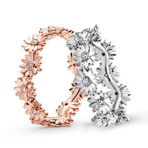 Rose Gold Sparkling Daisy Flower Crown кольцо с логотипом и Pandora Подарочная коробка оригинала 925 женщин кольца стерлингового серебра Роскошные ювелирные изделия от дизайнеров