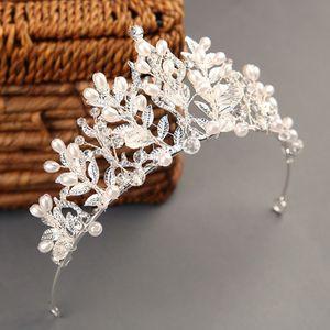 Барокко Роскошных Rhinestone бусы Люкс Корона Диадема Silver Color Crystal Диадема Диадема невеста ободки Свадебные аксессуары для волос