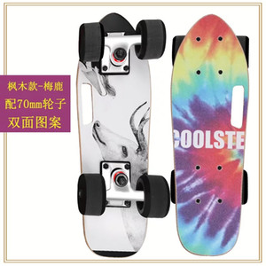 7 katmanlı akçaağaç ahşap tek rocker komple akçaağaç ahşap Mini Balık Cruiser sörf Skateboard binmeye hazır monte