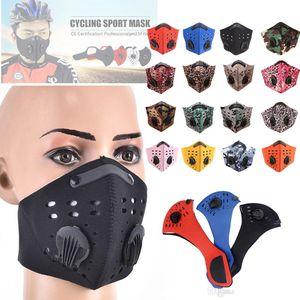 Ciclismo Meia Face máscara com filtro PM2.5 Carbono Dois Exhale Válvulas camuflagem Leopard Ski Dustproof Anti Poluição Smog máscara facial Sport Shield