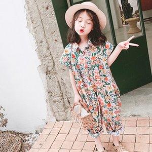 Girls Jumpsuit 2019 Summer Floral Girls Overalls Jumpsuit For Girl Harem Pants Korean Girls Palysuit Y200704