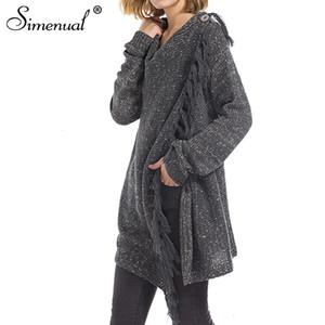 Simenual Criss ceketler saleMX190926 kazak kadın moda düzensiz ince saçak uzun hırka kadın kış için hırka örme çapraz