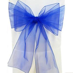 Eco-Friendly 18 * 275 centimetri Organza copertura telai della sedia del telaio Sashe Bow Wedding Party decorare Banchetto 35 Colore Bianco Rosso