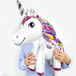 생일 파티 장식 어린이 장난감 풍선 (6) 디자인 KKA6883에 대 한 3d 유니콘 풍선 만화 동물 호일 풍선