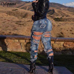 Женщины карманных Hole Denim Кнопка Zipper Sexy Тонкая Тощий Fold высокий эластичный Denim Jeans Женский Омываются