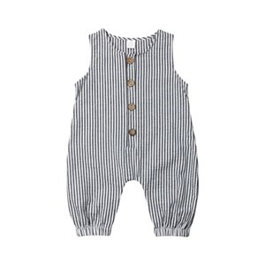 0-18M Casual Newborn Baby Boy Girl Sleeveless Striped Romper Jumpsuit Playsuit Outfits Summer Clothes