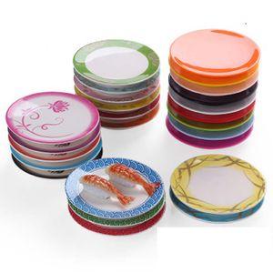Food Sushi melamina plato rotatorio Sushi placa redonda de colores Cinta transportadora Sushi placas de la porción 50pcs ZZA1503