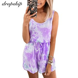wholesale Tie Dye Print Women Casual Outfits Sleeveless Rompers Lace Up Short Jumpsuits Summer Loose Female Homewear One Piece