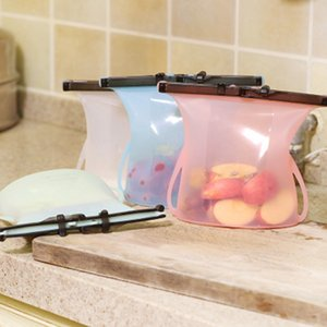 1000ml Foldable Silicone Food Preservation Bag Reusable Sealing Storage Container Food Fresh Bags Ziplock Bags ZZA2316 100Pcs