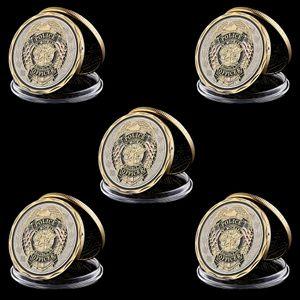 5pcs St Michael Protect agent de police nous plaqué or commémorative Multicolor Défi Monnaie Cadeaux de collection