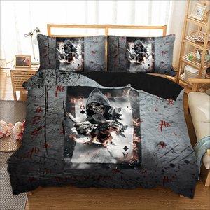 Серый комплект постельных принадлежностей 3d печать клоун покер Твин Полный размер королевы пододеяльник набор череп серии для домашнего текстиля постельного комплекта