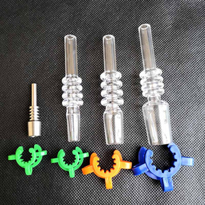 Mini Nektar Kollektör Setleri Kuvars Titanyum İpuçları Nail Cam Suyu Bongs Borular Dab Petrol Platformlar 10mm 14mm 18mm Kuvars İpucu ile Keck Klipler