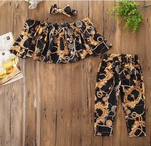 3Pcs Set Kids Designer Spring&Summer Golden Floral Pattern Printed Baby Girls Black Top + Pants Kids Clothing Set for Girls Clothes