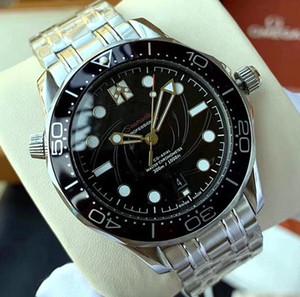 2020 Sliver Fall Co-Axial-Master Automatische mechanische Bewegung Schwarz Keramik-Lünette Dial Diver 300M 007 James Bond-Mann-Uhr Sea Armbanduhr