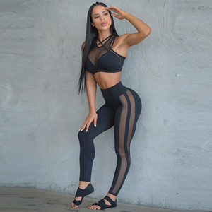 2 Yoga Piece Set pour femmes Fitness Gym Vêtements de sport Mesh Workout Sport Survêtement Yoga Courir Gym Costumes Push Up Set Sport