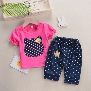 summer 2019 new girls Bibicola clothes set cartoon cotton tops++short 2 pcs clothing stes children girls fashion clothing
