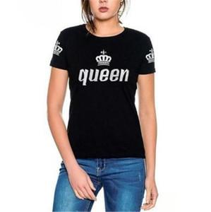 Manica corta magliette estate O del collo Coppie Top femminile Abbigliamento Regina e Re Stampa progettista delle donne