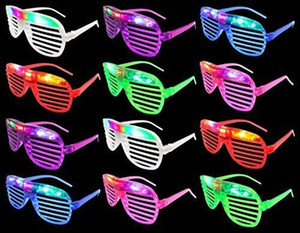 Halloween Party Flashing LED Multi Color Slotted Shutter Light Up Glasses Show Party Favor halloween props