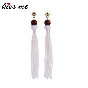 KISS ME Little Wood Ball hilo de algodón largo borla pendientes de gota para las mujeres nuevo diseño cuelga los pendientes accesorios de joyería de moda