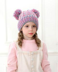 Çocuk erkek ve kız Örgü Crochet kasketleri Şapka Çocuk Yumuşak Çift Toplar Kış DHL 30pcs tarafından Şapka 13 Stiller Açık Bebek Ponpon Kayak Caps Isınma