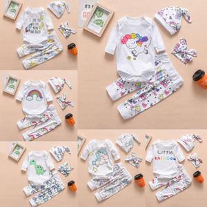 6 estilos de roupas do bebê Define Outono Primavera do arco-íris Unicórnio Dinosaur pau cavalo-marinho cactus pássaro Criança Romper + pant + chapéu + cabeça 4pcs / set M210