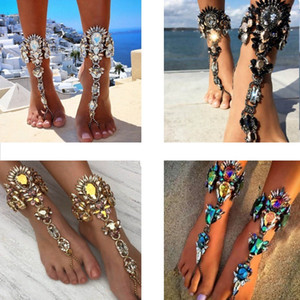 Style d'été Femmes Big Gemstone Cheville Bracelet Sandale Chaîne Jambe Sexy Boho Crystal Beach Anklet Déclaration Bijoux