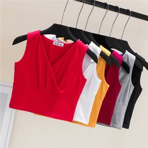 2020 Sexy Women Solid Strappy Tanks Vest Crop Top Summer Sleeveless V Neck Tanks Beach Women Sports Tank Tops Nightclub