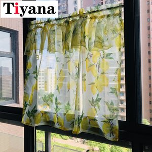 Tiyana Lemon Yellow Short Sheer Curtains for Living room Kitchen Half Curtain Fruit Design Summer Door cortinas rideaux
