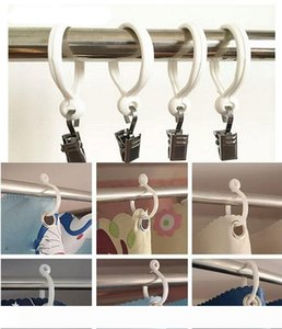 B New Curtain Poles Shower Rod Hook Hanger White Color Plastic Ring Bath Drape Loop Clasp Drapery Home Use Clips wen4677