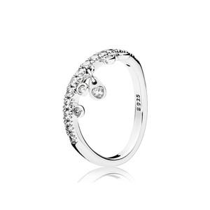 Clear CZ Diamond 925 Sterling Silver Bague Set Logo Boîte d'origine pour charbel de pandora Bague des gouttelettes pour femmes filles mariages bijoux
