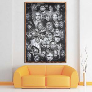 Wu-Tang Clan 2PAC Legends of Hip Hop Rapper Rap Música Pintura de seda da arte da lona Poster parede Home Decor
