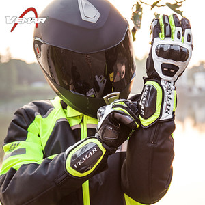 Toptan VEMAR karbon fiber deri yarış off-road eldiven 4 renk M XL XXL bisiklet eldiven / motosiklet tam parmak eldiven sürme eldiven