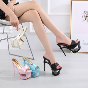 Summer Hot sale 16 SMER Super High heeled shoes Silk Shallow Open Toe Behooks 6 inches Flower model Party Drug
