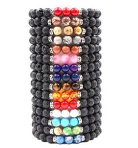 Hot 8 MM Pedra de Pedra de Lava Natural Pulseira Colorido Chakra Beads Pulseiras Para mulheres homens Volcanic Yoga Pulseira Elastic Energia Jóias