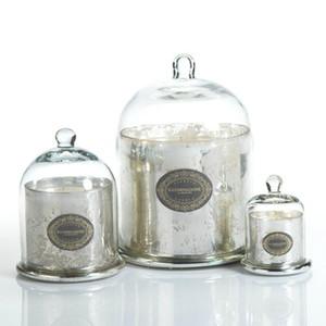Vente en gros luxe Electroplated Dôme Verre Cristal Cloche Bougie Pot en verre avec couvercle en verre