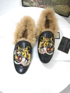 Tiger Head Fur Shoes Men and Women Rabbit Fur Embroidery Cheetah Bee Dress Shoes Genuine Leather Fashion Classic