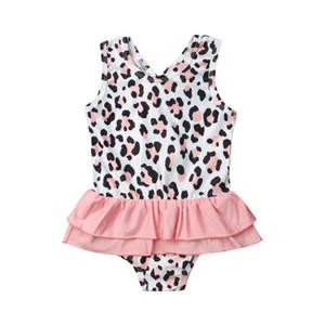 Toddler Kız Mayo Sevimli Leopar Baskı Mayo Tek Parça Mayo Beachwear Çocuk Kız Mayo Mayo Yüzme Kostüm
