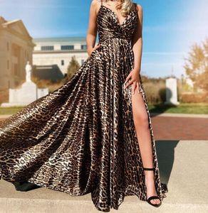 2020 Новый Leopard печати Платья Wear High Side щелевая Глубокий V-образным вырезом Спагетти Формальные Пром платье Homecoming невесты Женщины мантии
